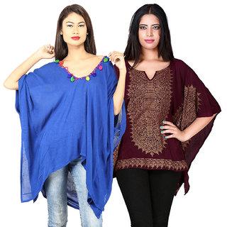 Secret Bazaar Women's Appealing Rayon Kaftan(Pack of 2 Kaftans)