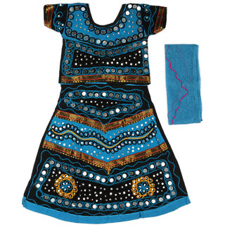 Pikaboo Blue & Black Girls Chaniya Choli Dress (1-2 Years)