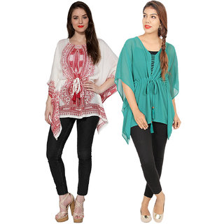 Secret Bazaar Women's Designer Rayon Kaftan(Pack of 2 Kaftans)