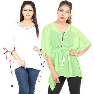 Secret Bazaar Women's Trendy Rayon Kaftan(Pack of 2 Kaftans)