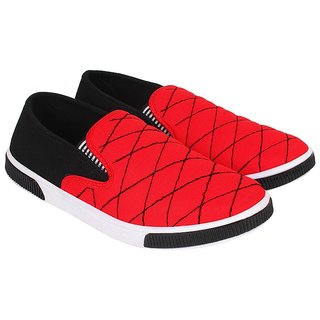 ed76154d7edd Buy SHOEFLY Men s Canvas Red Loafers Mocassins Online   ₹498 from ...
