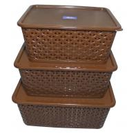 FAIR FOOD Polyproplene Multipurpose Brown Basket with Cover- SET OF 3
