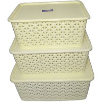 Amazing Polyproplene Multipurpose White Basket with Cover- SET OF 3