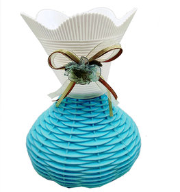 Flower vases by Random| flower vases for living room | flower pots | blue and white colored with a rounded base