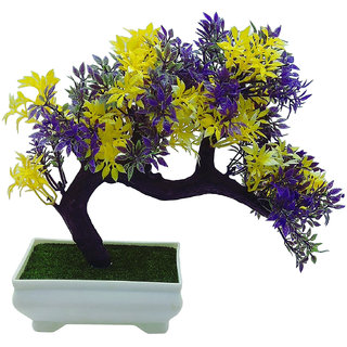 Artificial Plant With Pot by Random|Bent Bonsai Tree With Yellow and Purple Leaves |Melamine White Pot With Real Looking Green Grass