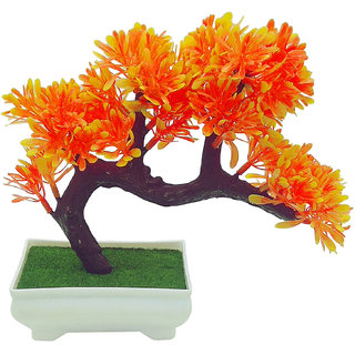Artificial Plant With Pot by Random|Bent Bonsai Tree With Yellow and Orange Leaves |Melamine White Pot With Real Looking Green Grass