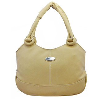 Lady Queen Beige Faux Leather Shoulder Bag