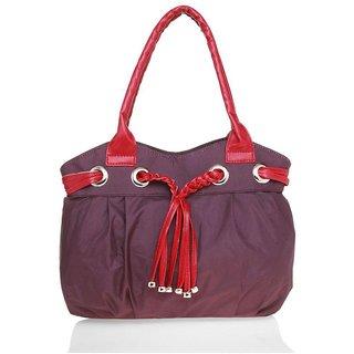 Lady Queen Maroon Fabric Shoulder Bag