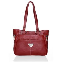 Lady Queen Maroon Faux Leather Shoulder Bag