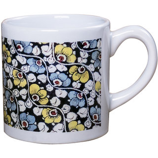 Kalamkari Floral Design Multicolor Stoneware Microwave Safe Tea Mugs with Mirror Finish