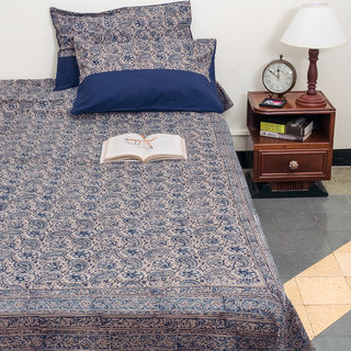 Kalamkari Printed Multicolor Cotton Queen Size Bed Cover With Pillow Case