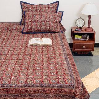 Kalamkari Floral Design Multicolor Cotton Queen Size Bed Cover With Pillow Case