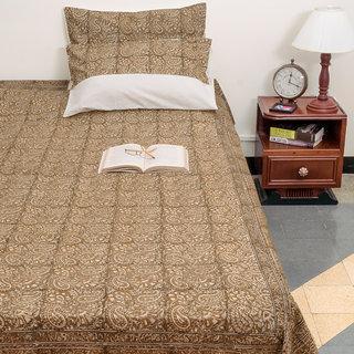 Kalamkari Multicolor Floral Design Cotton Queen Size Bed Cover With Pillow Case