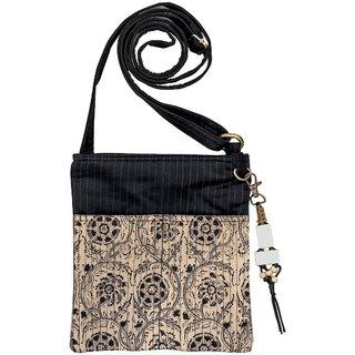 Kalamkari Black Color Cotton Zip Sling Bag For Women