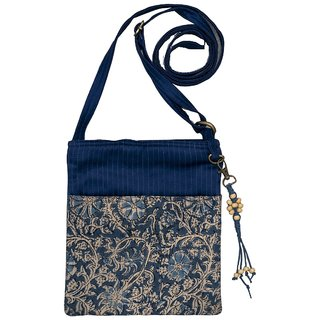 Kalamkari Blue Color Cotton Zip Sling Bag For Women