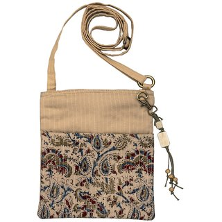 Kalamkari Beige Color Cotton Zip Sling Bag For Women