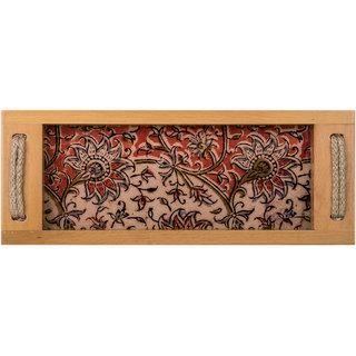 Kalamkari Printed Multi Color Rectangular Wooden Serving Tray