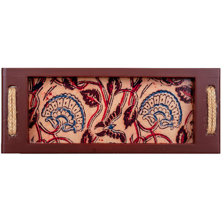 Kalamkari Printed Multi Color Rectangular Wooden Finish Serving Tray