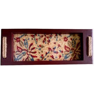 Kalamkari Multi Color Printed Rectangular Wooden Finish Serving Tray