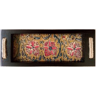 Kalamkari Floral Design Multi Color Rectangular Wooden Finish Serving Tray
