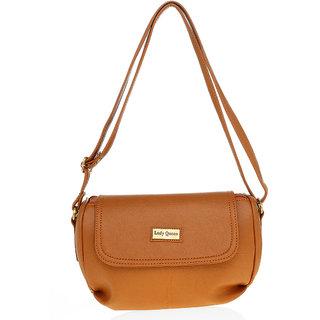 Lady Queen Tan Plain Sling Bag