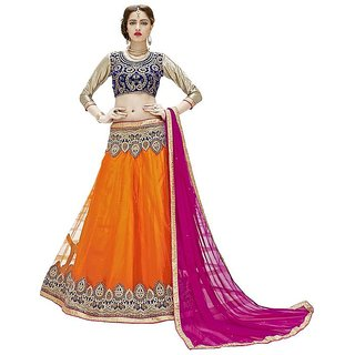 d5a8d1717122 Surupta Orange and Pink Partywear Net With Embroidery Women Designer  Lehenga Choli