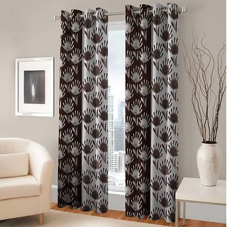 Tejashwi Traders 50-50 Flower Window curtain set of 2 (4x5)