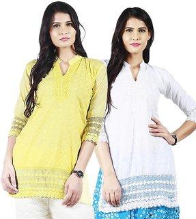 Haniya Chikankari Short Cotton Kurti Combo - White  Lemon Yellow