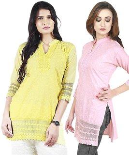 Haniya Chikankari Short Cotton Kurti Combo - Lemon Yellow  Pink