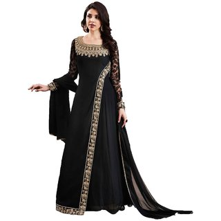 Shoponbit Georgette Satin Semi-Stitched Anarkali Suit