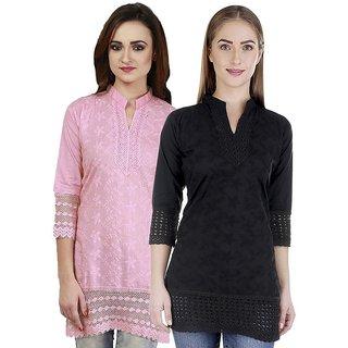 Haniya Chikankari Short Cotton Kurti Combo - Black  Pink