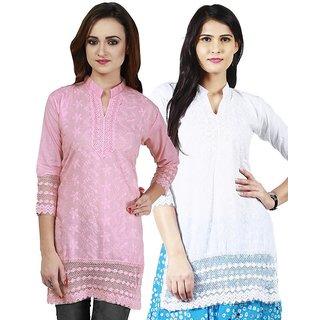 Haniya Chikankari Short Cotton Kurti Combo - White  Pink