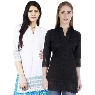 Haniya Chikankari Short Cotton Kurti Combo - Black  White