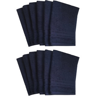 Lushomes Navy Super Soft and Fluffy Hand Towels (Size: 16