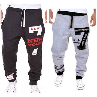 Trendyz Black And Grey Poly Cotton Trackpant With Zipper Pocket For Men