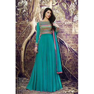 Greenvilla Designs sky blue georgatte embroiday work salwar suit
