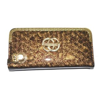 Pin to Pen Brown Gold Clutch