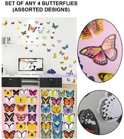 TAKSON Multicolor Plastic 3D Butterfly Stickers -Set of 4