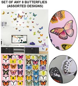 Set of 8 - 3D Butterfly Stickers (Assorted Designs, Colours)
