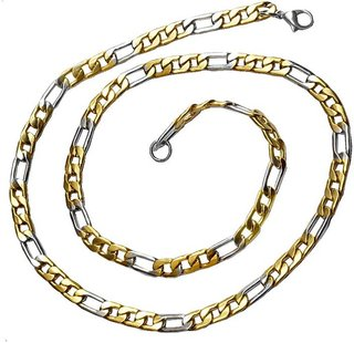 Men Style 6 mm Thickness Dual Tone Figaro Link  With Lobster Clasp SCh005006 Titanium Plated Stainless Steel Chain