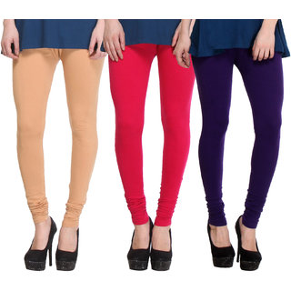 Hothy Multicolor Cotton Legings (Pack of 3)