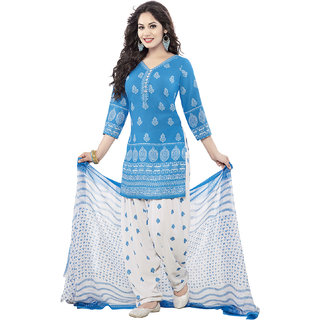 Drapes womens Blue Crepe Printed Dress Material (UnStitched) DF1536