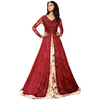 Active Net  Georgette Fabric Embroidery Indo Western Suit For Women  RedMulticolour S012MaskeenRed