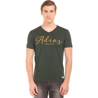 Flying Machine Men's Green V-Neck T-Shirt