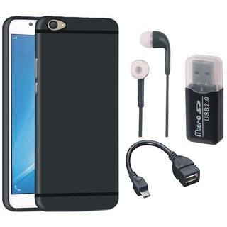 Oppo F7 Silicon Anti Slip Back Cover with Memory Card Reader, Earphones and OTG Cable
