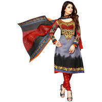 Drapes Maroon And Gray Cotton Embroidered Salwar Suit Dress Material (Unstitched)