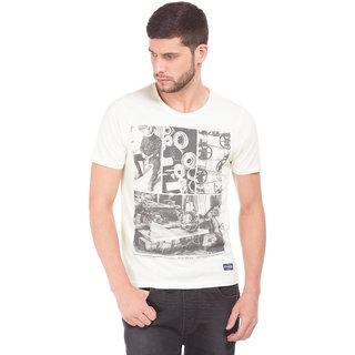 Flying Machine Men's Cream Round Neck T-Shirt