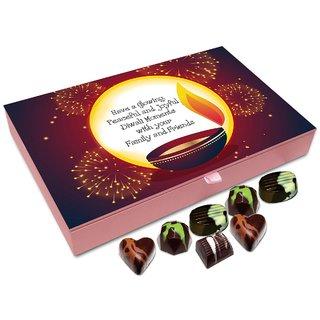 Chocholik Diwali Gift Box - May This Diwali Be Glowing Peaceful And Joyful Chocolate Box - 12pc