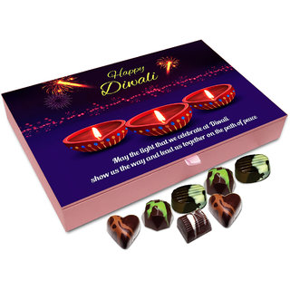 Chocholik Diwali Gift - May The Light Of Diwali Show Us The Right Path Chocolate Box - 12pc