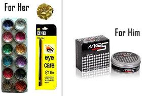 Combo - 12 pcs Multi Color Glitter + ADS Eye Care Kajal + MG5 Hair Wax